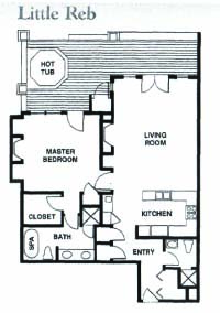 Floor Plan for Ski-In/Ski-Out 1-Bedroom With Private Hot Tub