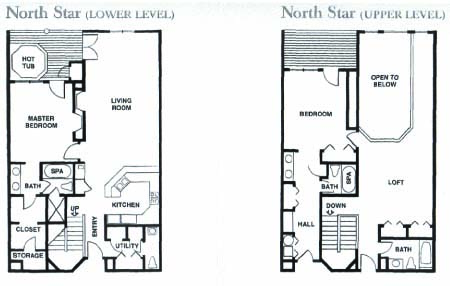 Floor Plan for Ski-In/Ski-Out Fully Furnished 2-Bedroom Condo
