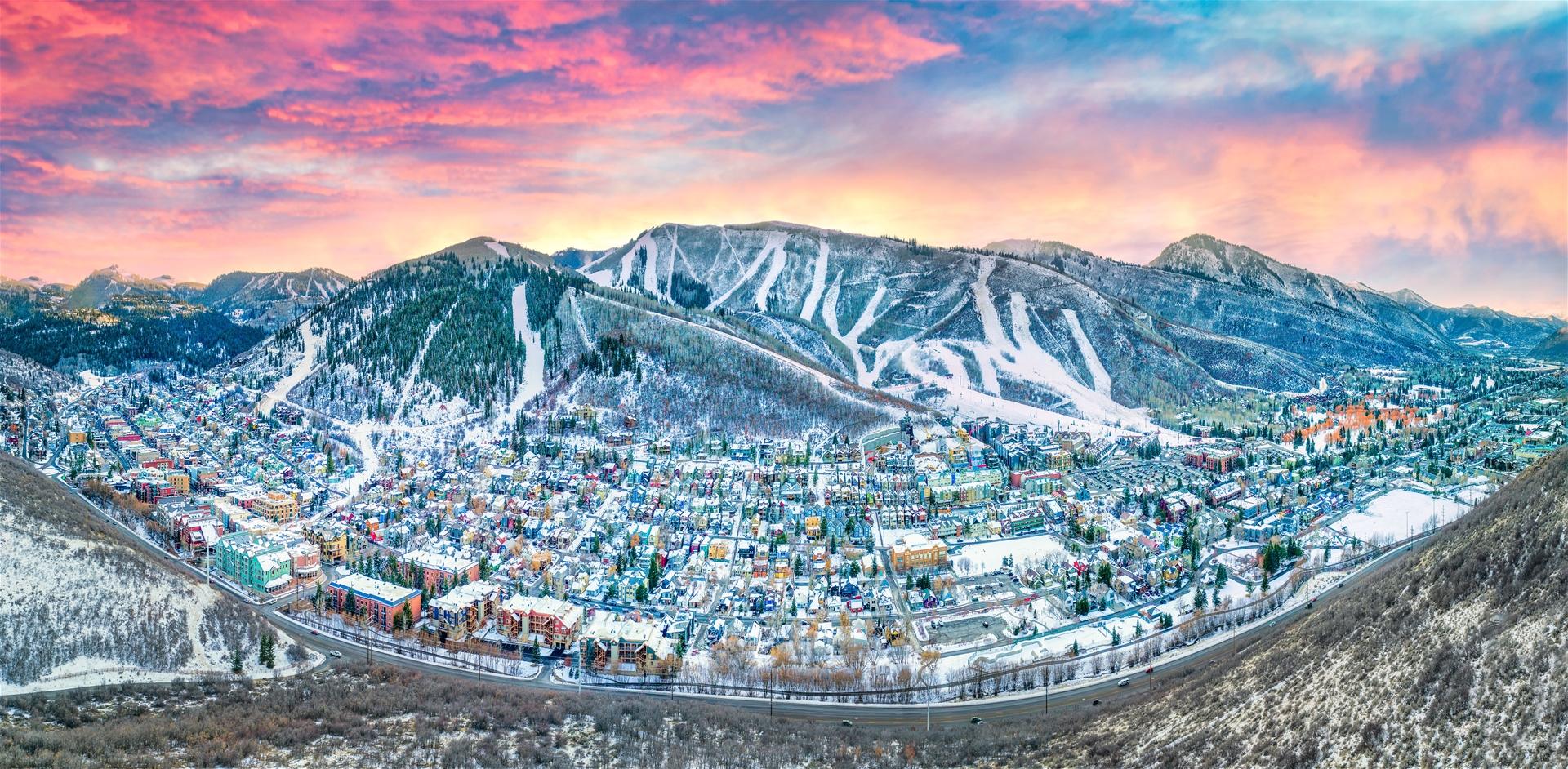 Park City, Utah, Downtown aerial shot during Winter